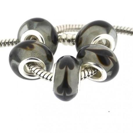 Perle de verre noire aux coeurs style Pandora - à l'unité
