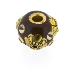 Perle kashmiri chocolat, ronde 14 mm - à l'unité