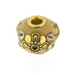 Perle kashmiri marron clair, ronde 14 mm - à l'unité