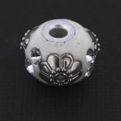Perle kashmiri blanche, ronde 14 mm - à l'unité