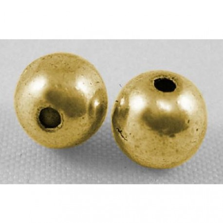 Perle de métal ronde, dorée