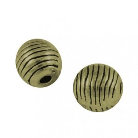 Perle de métal ovale striée, bronze antique