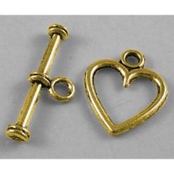 Fermoir coeur en métal, doré