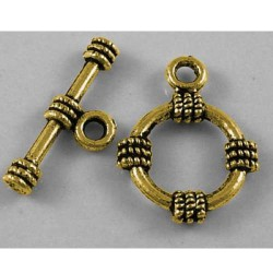 Fermoir rond décoré en métal, doré