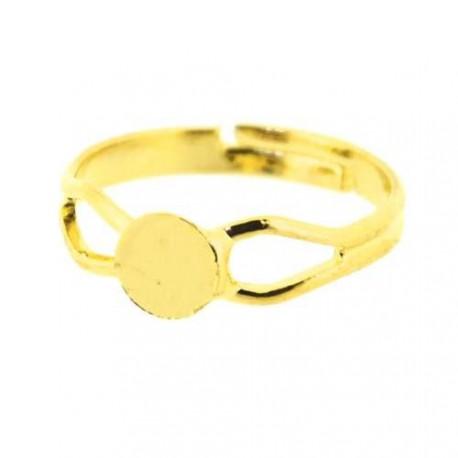 Support de bague ajourée, réglable, plateau 6 mm, dorée