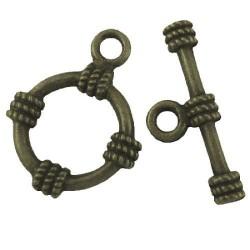 Fermoir rond décoré en métal, bronze antique