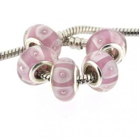 Perle de verre rose bandes blanches style Pandora - à l'unité