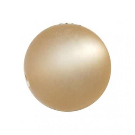 Perle Polaris champagne, mat, ronde 14 mm - à l'unité
