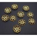 Calotte filigree en laiton 10 mm, doré - par 10