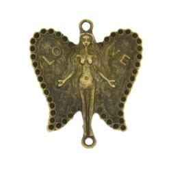Pendentif breloque Femme papillon, bronze antique