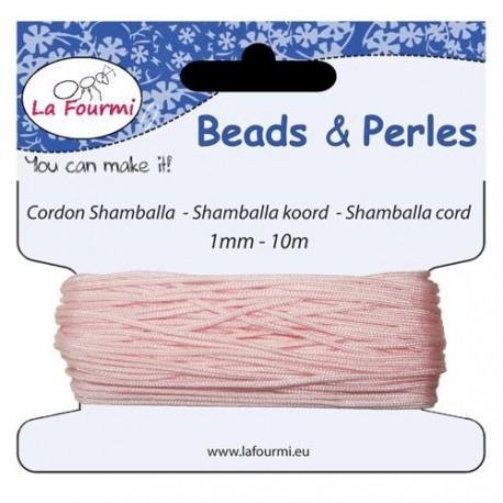Carte 10 m Cordon rose pâle en coton pour Shamballa, 1 mm ø