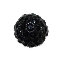 Perle metal strass shamballa 10mm noir