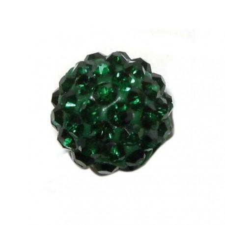 Perle metal strass shamballa 10mm émeraude