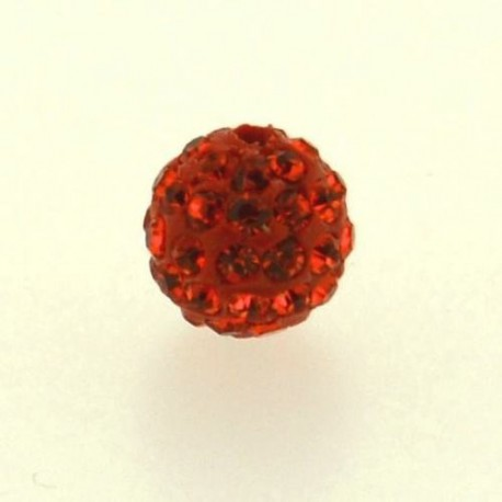 Perle metal strass shamballa 10mm orange