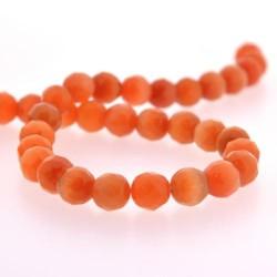 Perle Oeil de Chat Orange, facettes, ronde 10 mm - à l'unité