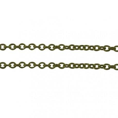Chaîne de métal, 2 x 1,5 mm, bronze antique