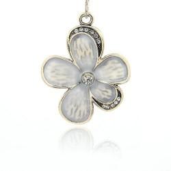 Pendentif breloque en métal Grande Fleur, strass et émail, argenté
