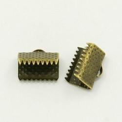 Embout métal pince à griffe 10 x 7 mm, bronze antique - la paire