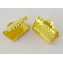 Embout métal pince à griffe 10 x 7 mm, doré - la paire