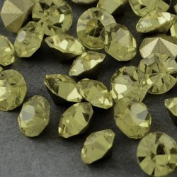 Strass imitation diamant, rond 4 mm, jaune pâle x 10