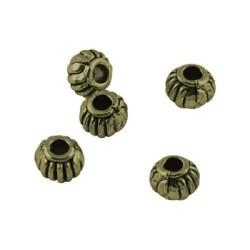 Perle de métal ronde striée, bronze antique