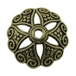 Calotte de métal 20 mm, bronze antique - la paire