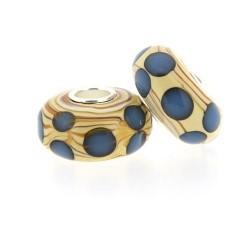 Perle de verre style Pandora noyau argent 925 imitation bois - à l'unité
