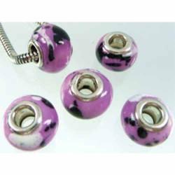 Perle porcelaine lilas/noir/blanc style Pandora - à l'unité