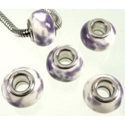 Perle porcelaine blanc/violet style Pandora - à l'unité
