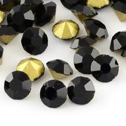 Strass imitation diamant, rond 3 mm, noir x 10