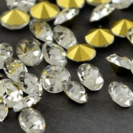 Strass imitation diamant, rond 3 mm, blanc x 10