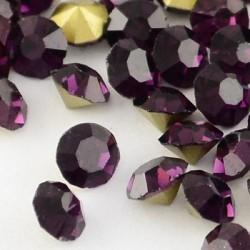 Strass imitation diamant, rond 3 mm, améthyste x 10