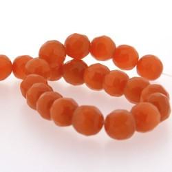 Perle Oeil de Chat orange, facettes, ronde 12 mm - à l'unité