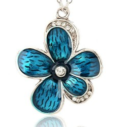 Pendentif breloque en métal Grande Fleur, strass et émail turquoise, argenté