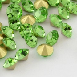 Strass imitation diamant, rond 4 mm, vert x 10