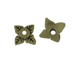 Calotte filigree en laiton carré 6 mm, bronze antique - par 10