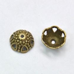 Calotte de métal 12 mm, bronze antique - par 10