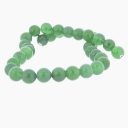 Perle naturelle Agate verte foncée, ronde 10 mm - à l'unité