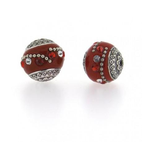 Perle kashmiri rouge, laiton argenté, ronde 19 mm - à l'unité