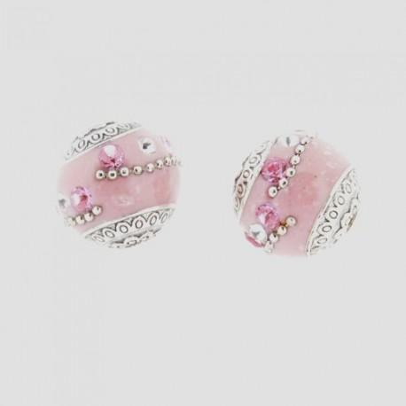Perle kashmiri rose, laiton argenté, ronde 19 mm - à l'unité