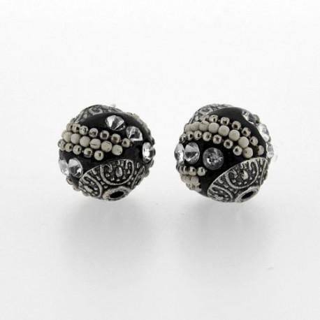 Perle kashmiri noire, laiton argenté, ronde 15 mm - à l'unité