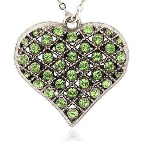 Pendentif breloque en métal Coeur, strass verts, argenté