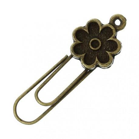 Trombone métal Fleur, bronze antique