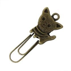 Trombone métal Chat, bronze antique
