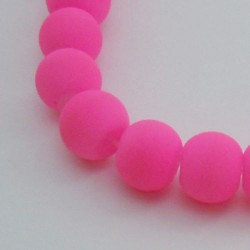 Perle de verre caoutchouc rose néon, 8 mm