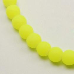 Perle de verre caoutchouc jaune néon, 8 mm