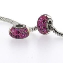 Perle de verre ronds framboises style Pandora - à l'unité