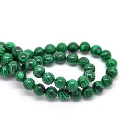 Perle de verre imitation malachite, 8 mm