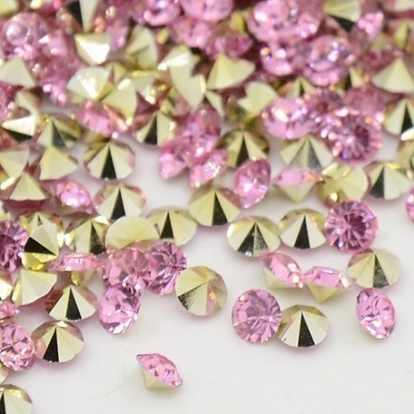 Strass imitation diamant, rond 3 mm, rose x 10
