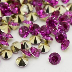 Strass imitation diamant, rond 3 mm, pourpre x 10